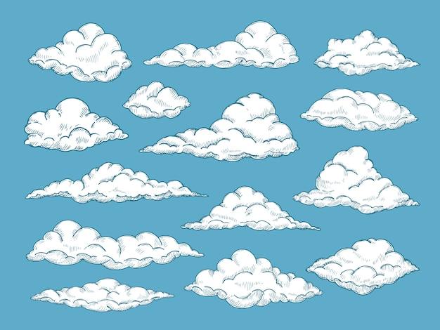 Conjunto de nubes dibujadas a mano Vector Premium