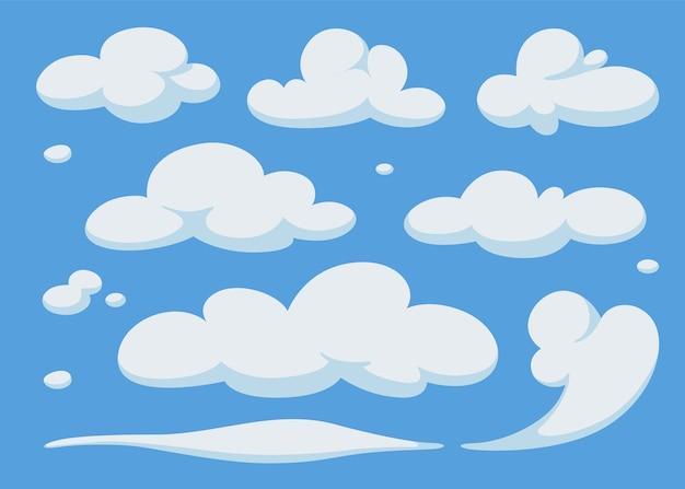 Conjunto De Nubes De Dibujos Animados En El Cielo Azul