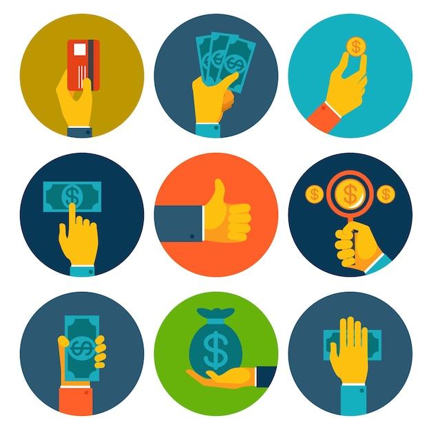 Conjunto de nueve diferentes iconos de dinero colorido en manos con billetes de dólar vector gratuito