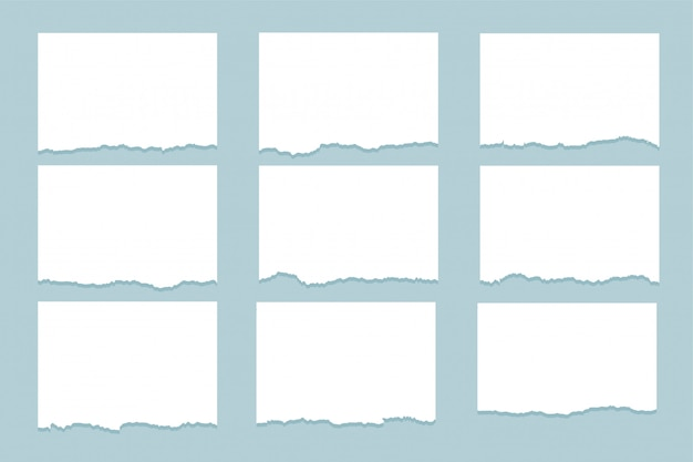 Conjunto de nueve hojas de papel rasgado rasgado vector gratuito