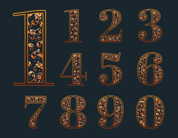 Conjunto de números ornamentales vector gratuito