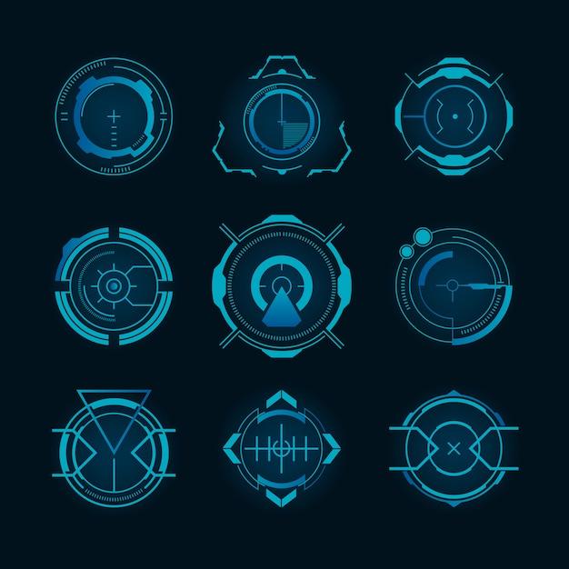 Conjunto de objetivos futuristas vector gratuito