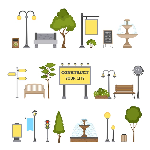 Conjunto de objetos al aire libre vector gratuito