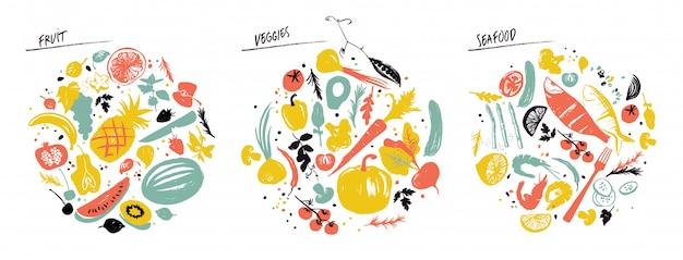 Conjunto de objetos alimenticios: mariscos, verduras y frutas. Vector Premium