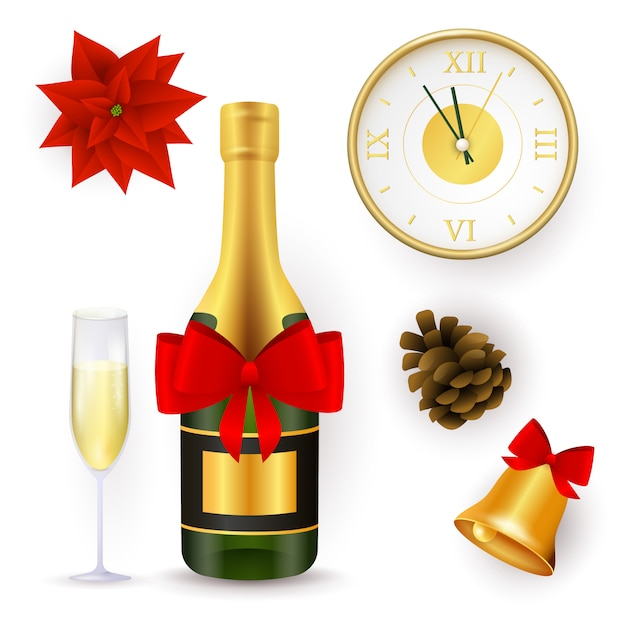 Conjunto de objetos de año nuevo vector gratuito