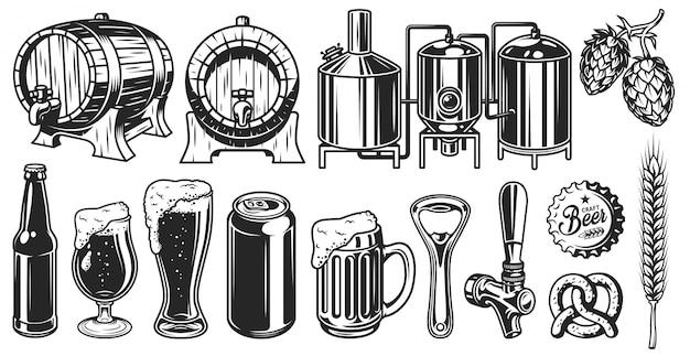 Conjunto de objetos de cerveza vector gratuito