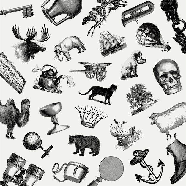 Conjunto de objetos europeos vintage vector gratuito