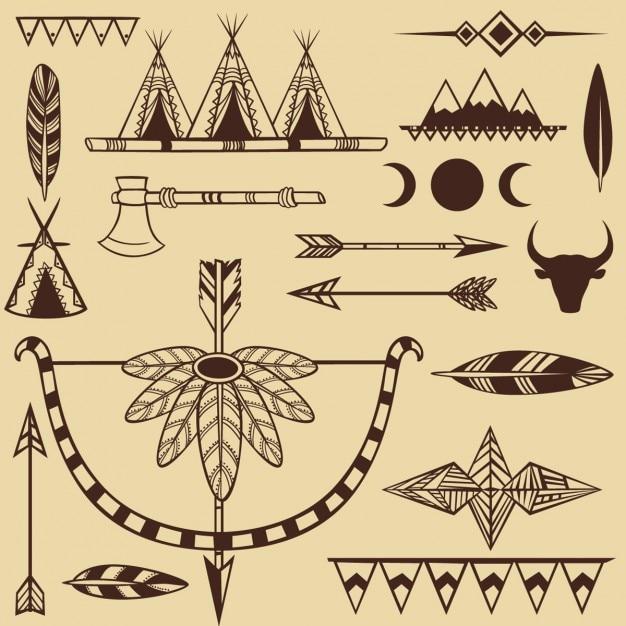 Conjunto de objetos indios americanos vector gratuito