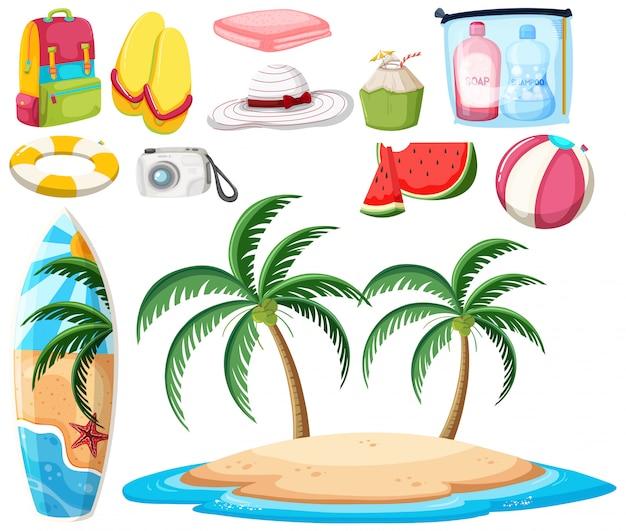 conjunto de objetos de playa descargar vectores premium