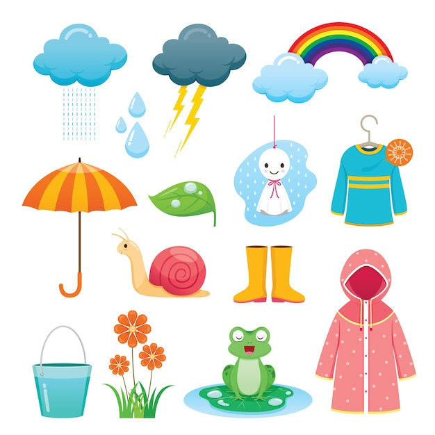 Conjunto de objetos de la temporada de lluvias Vector Premium