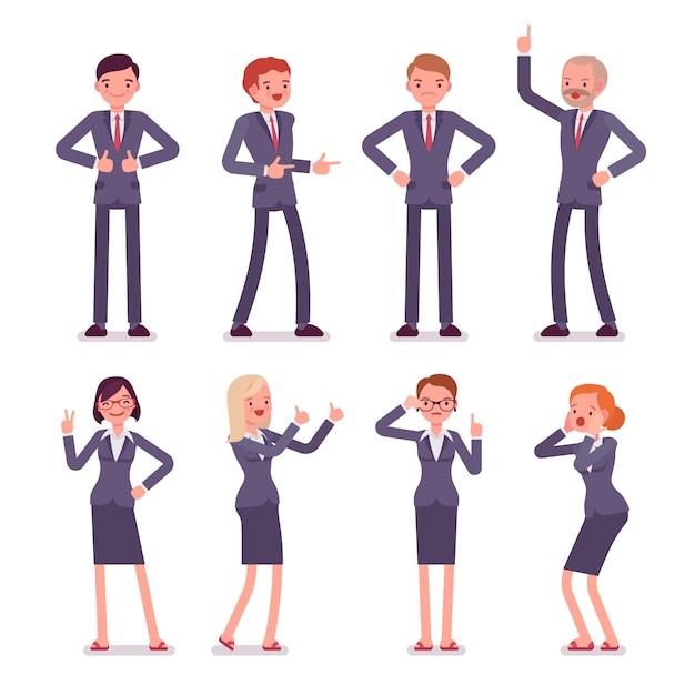 Conjunto de ocho personajes masculinos y femeninos de negocios Vector Premium