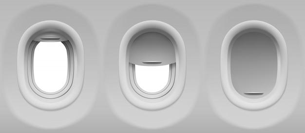 Conjunto de ojos de buey de avión vector gratuito
