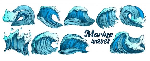 Conjunto de ondas marinas splash color sketch Vector Premium
