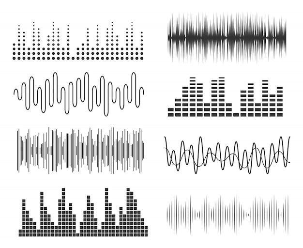 Conjunto de ondas de sonido de la música. tecnología de audio de pulsos musicales o gráficos sonoros. ecualizador de forma de onda de música Vector Premium