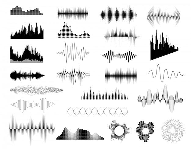 Conjunto de ondas de sonido Vector Premium