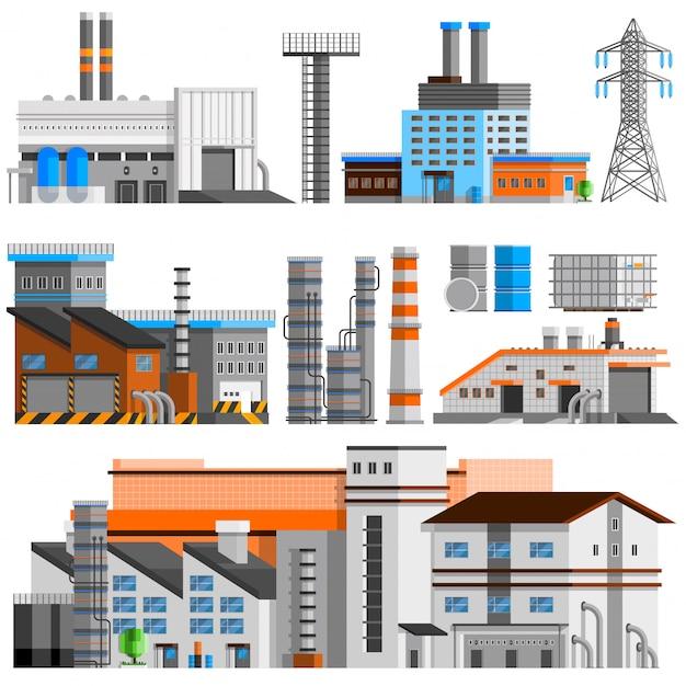 Conjunto ortogonal de edificios industriales vector gratuito