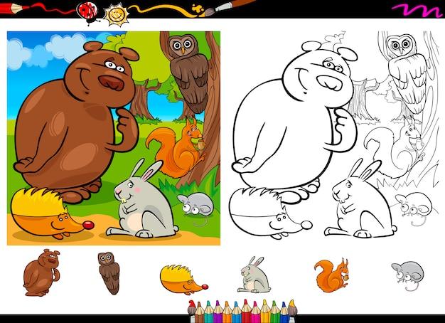 Conjunto De Página Para Colorear De Animales Salvajes