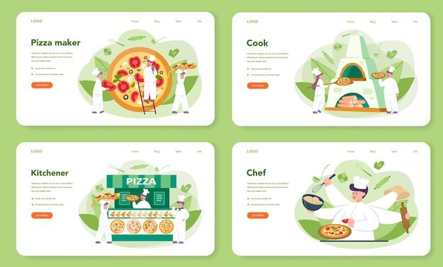 Conjunto de página de destino o banner web de pizzería Vector Premium