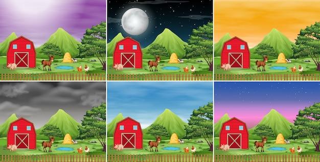 Conjunto de paisaje de la granja vector gratuito