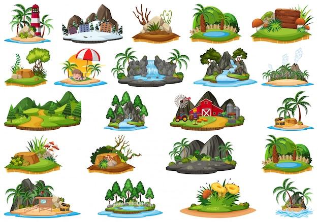 Conjunto de paisaje natural de la isla. Vector Premium