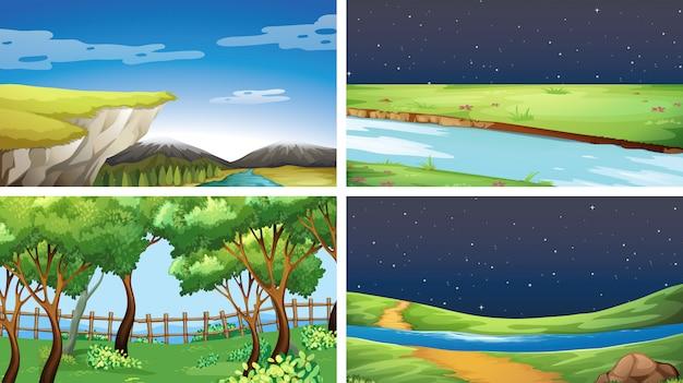 Conjunto de paisaje de la naturaleza vector gratuito