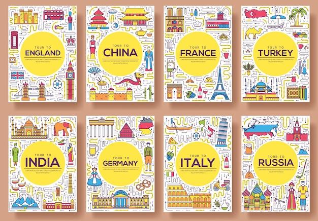 Conjunto de países del mundo de viajes de línea delgada Vector Premium