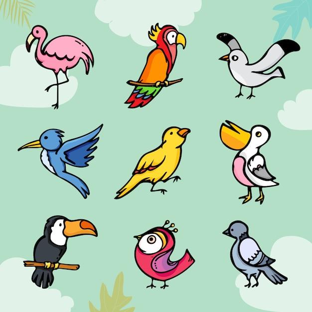 Conjunto de pájaros lindos dibujos animados coloridos Vector Premium