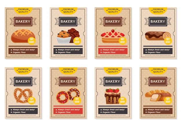 Conjunto de panadería posters vector gratuito