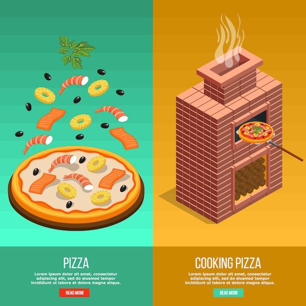 Conjunto de pancartas para hornear pizza vector gratuito