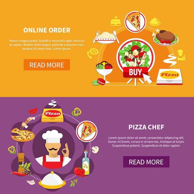 Conjunto de pancartas de pizza vector gratuito