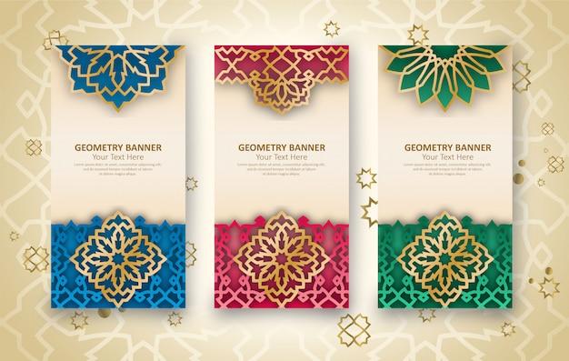 Conjunto de pancartas de temática árabe islámica con patrones geométricos tradicionales Vector Premium
