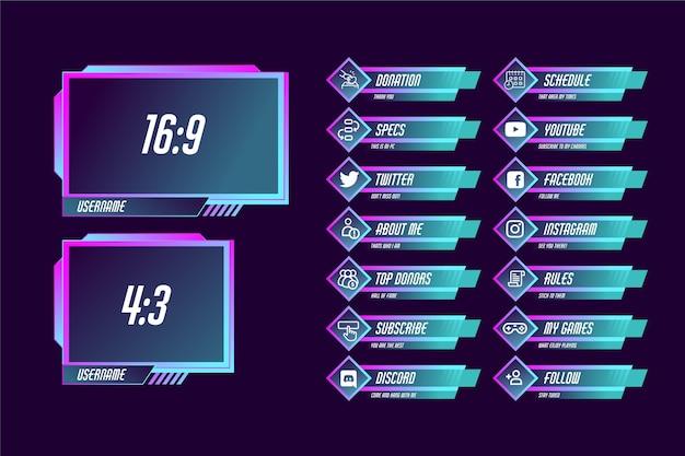 Conjunto de paneles de transmisión twitch Vector Premium