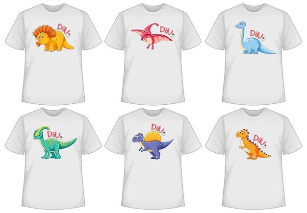 Conjunto de pantalla de dinosaurio de diferentes colores en camisetas. vector gratuito