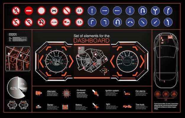 Conjunto de pantalla frontal moderna y elementos para ella. interfaz de usuario futurista. interfaz de usuario de hud. Vector Premium