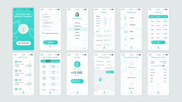 Conjunto de pantallas ui, ux, gui plantilla plana de la aplicación ecología Vector Premium
