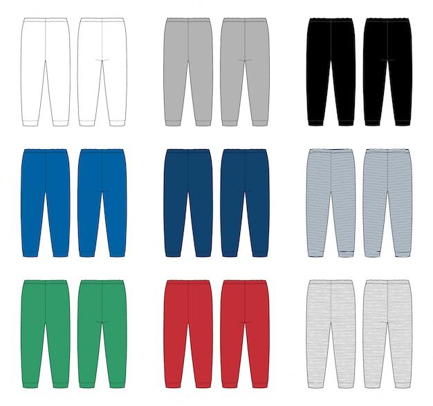 Conjunto De Pantalones De Dibujo Tecnico Para Ninos Plantilla De Diseno De Pantalones Para Ninos Colores Blanco Gris Negro Azul Rojo Verde Tela Melange Y Rayas Vista Frontal Y Posterior Vector