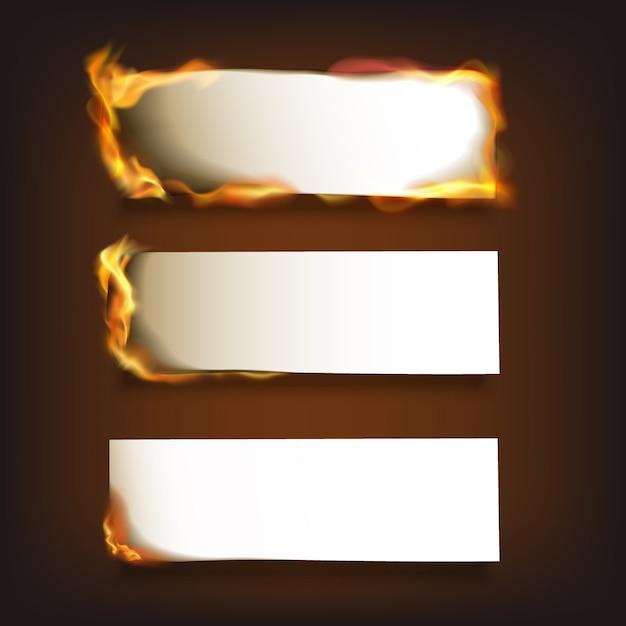Conjunto de papel ardiente vector gratuito