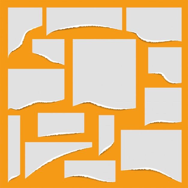 Conjunto de papel de bordes rasgados. ilustración. Vector Premium