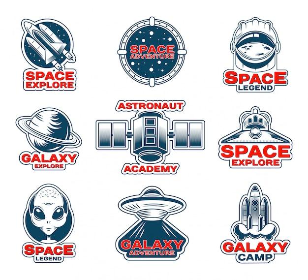 Conjunto de parches de exploración espacial. vector gratuito