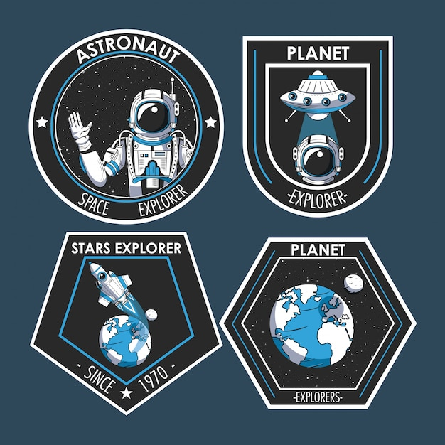 Conjunto de parches del explorador espacial de diseño de emblemas. vector gratuito