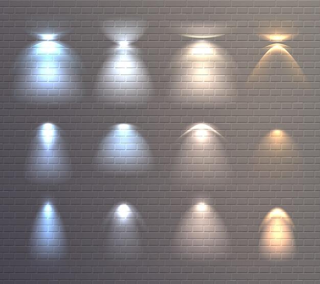 Conjunto de pared de ladrillo de efectos de luz vector gratuito