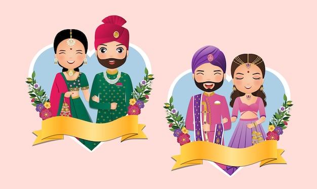 Conjunto de pareja linda en personajes de dibujos animados vestido indio tradicional novia y el novio. Vector Premium