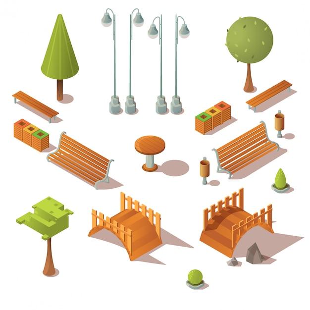 Conjunto de parque isométrico bancos, arboles, puentes de madera vector gratuito