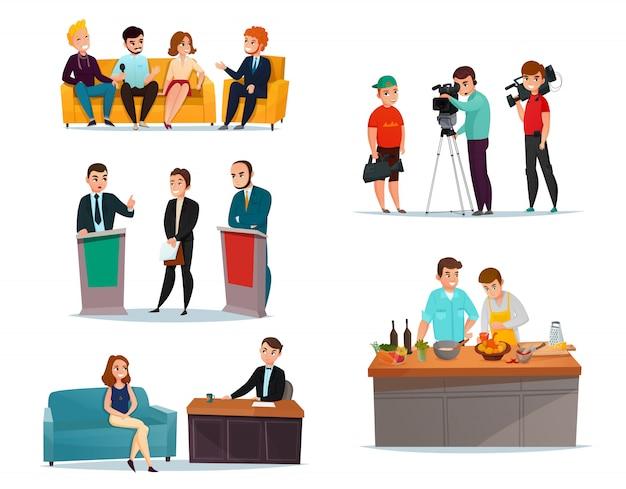 Conjunto de participantes del programa de entrevistas vector gratuito