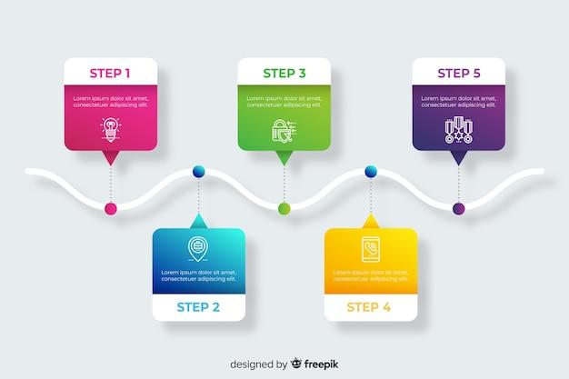 Conjunto de pasos de infografía degradado vector gratuito