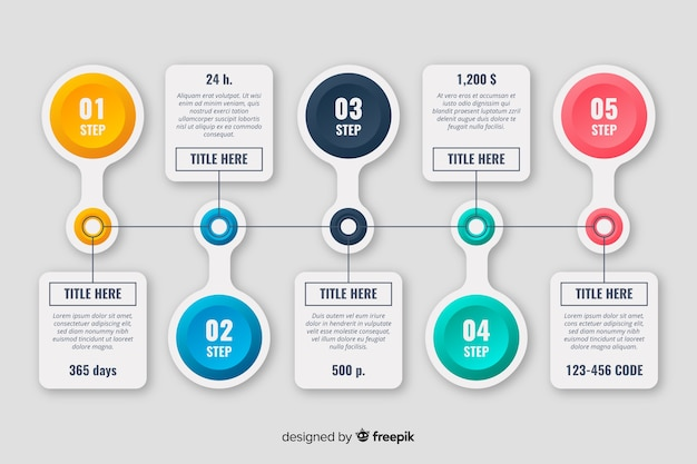 Conjunto de pasos de línea de tiempo de infografía vector gratuito