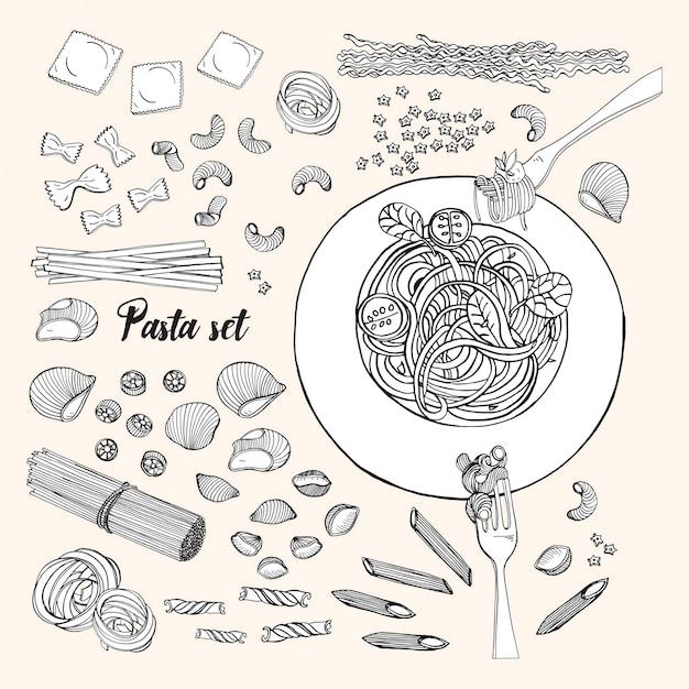 Conjunto de pasta de diferentes tipos. espaguetis de colección dibujados a mano, macarrones, fusilli, farfalle, ravioles, tortiglioni, penne. ilustración en blanco y negro. Vector Premium
