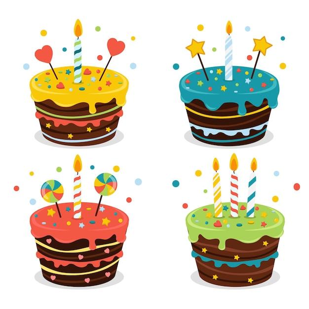 Conjunto de pasteles con colores, velas y decoraciones coloridas. Vector Premium