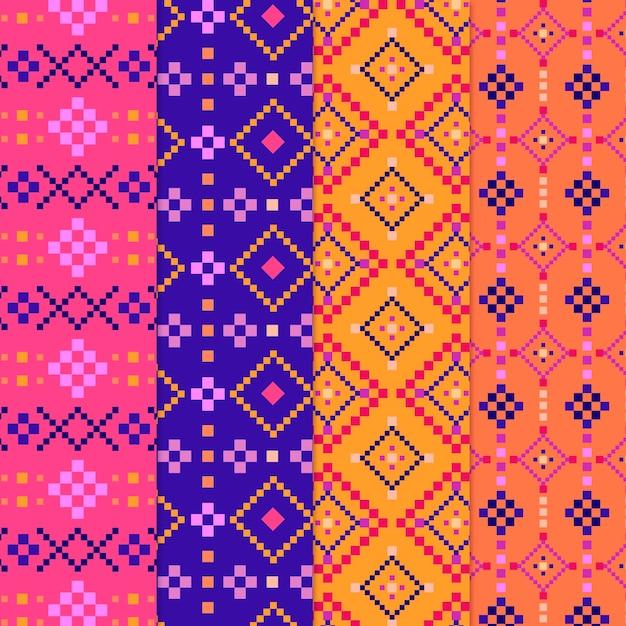 Conjunto de patrón de colorido songket Vector Premium