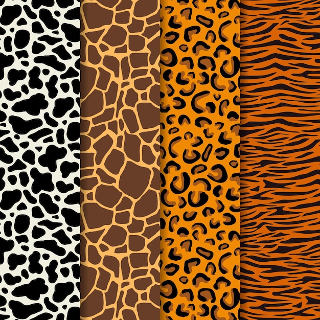 Conjunto de patrón de estampado animal moderno vector gratuito